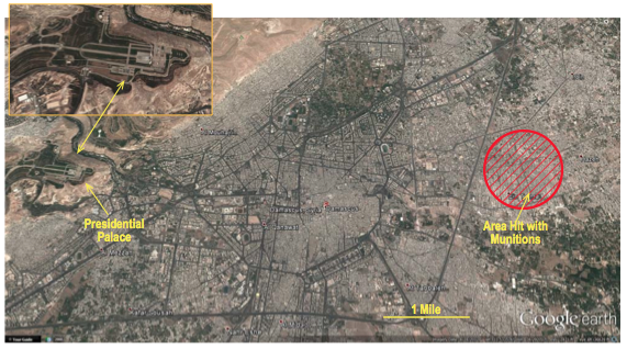 Location of Main Gas Attack on Suburb of Damascus_Google Earth