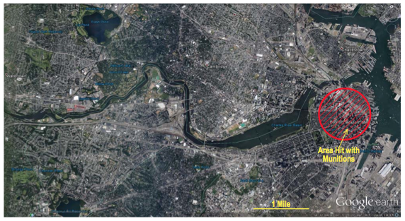 Size of attack area projected onto Boston_Google Earth